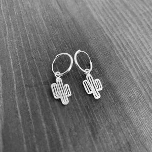 Hoop Earrings with Dangling Cactus Charm